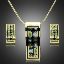 Enamel Necklace and Earrings Set